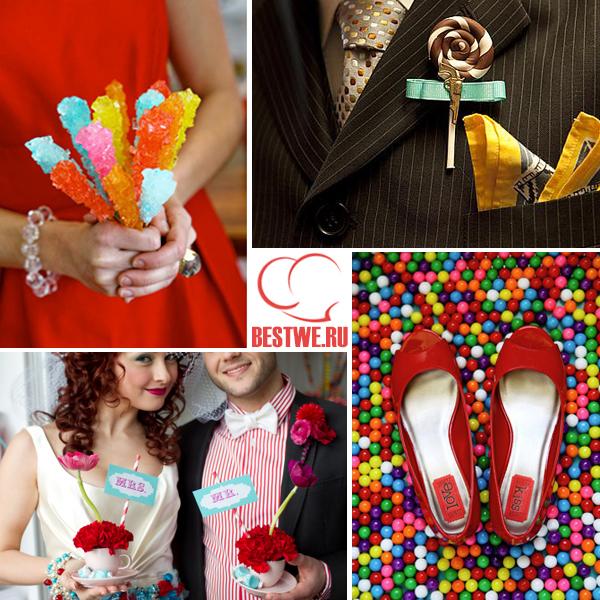 наряды жениха и невесты на конфетной свадьбе