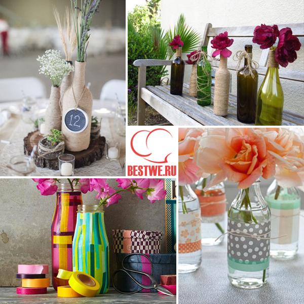 декорирование бутылок лентами и шпагатом